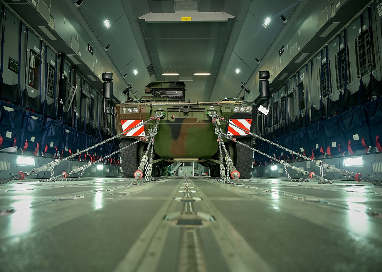 Air transportability trials for the BOXER Drive Module undertaken in A400M