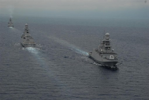 Three Italian FREMM ships at Sea together