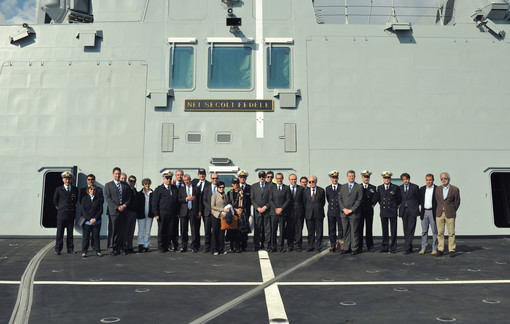 "FREMM PM with representatives of ""Corte dei Conti"", NAVARM Director, Italian Navy representatives and Industry representatives on the flight deck of FREMM Carabiniere"