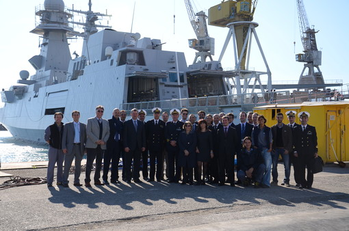 Staff from the OCCAR-EA FREMM Programme Division, the Italian Navy and Industry in front of the Carlo Bergamini