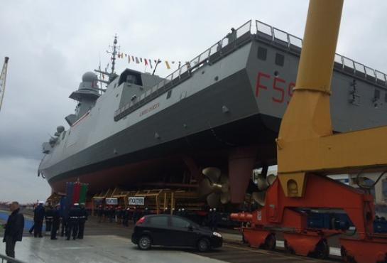 Launching of Luigi Rizzo, the 6th Italian Multipurpose FREMM Frigate