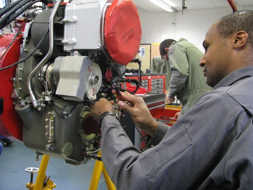 A practical session of Tiger Training at DFAT on an engine replica
