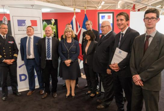 MMCM contract announcement by UK Defence Procurement Minister, Harriet Baldwin and the Head of the French defence procurement office (DGA), Laurent Collet-Billon. Copyright: Quentin Reytinas
